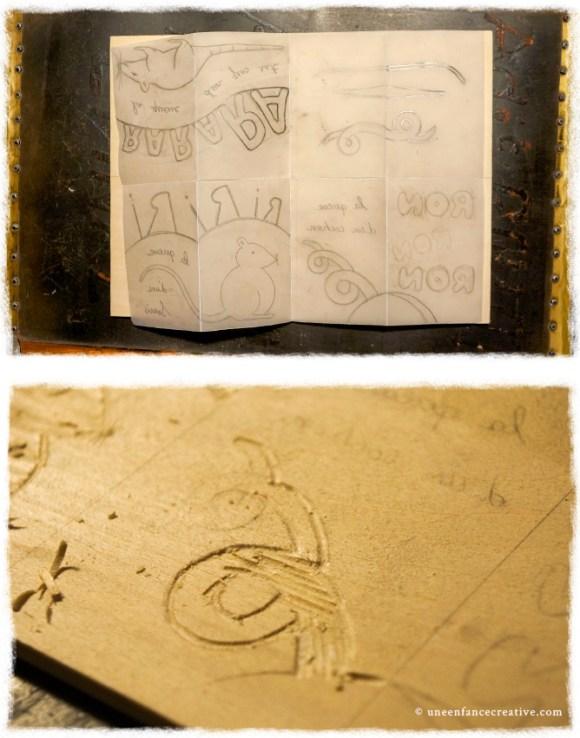 Créer un livre en gravure sur bois - gravure