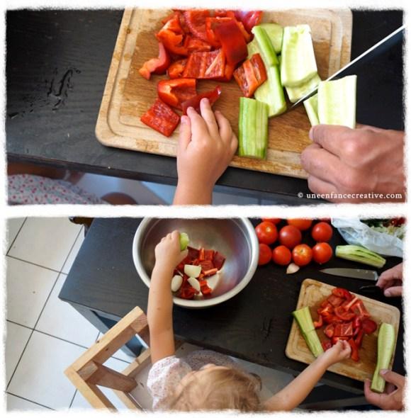 Couper les légumes - Recette Gaspacho