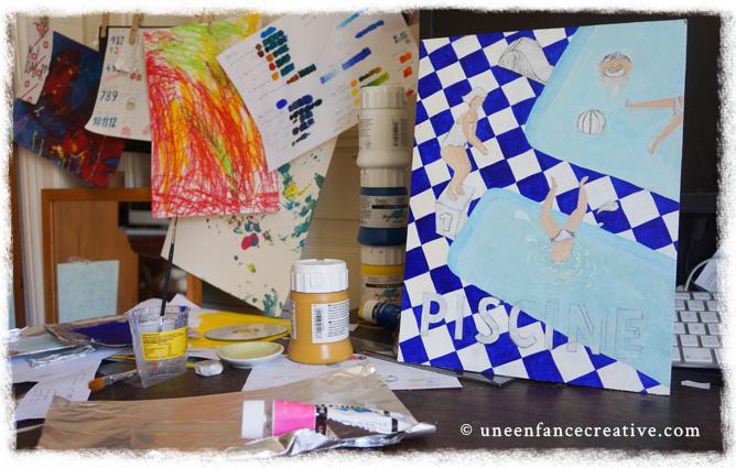 Peinture panneau signalétique Piscine pour jeu d'enfant