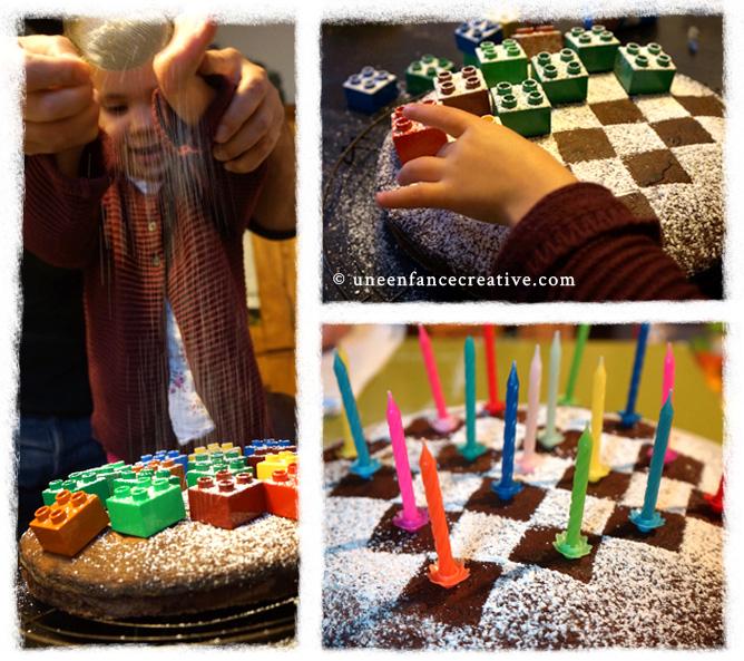 Saupoudrage du gâteau d'anniversaire avec du sucre glace