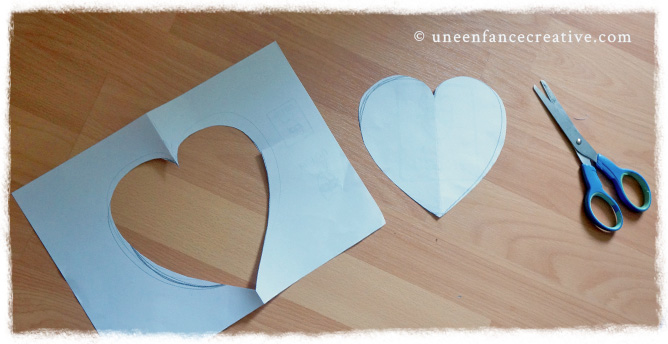 Découpe du cœur pour fabriquer carte de vœux