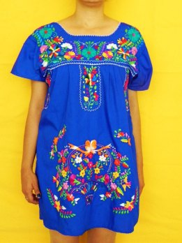 Etsy-mexican-fine-blue-mini-dress-flowers