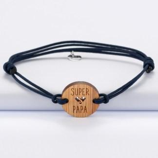 bracelet-medaille-gravee-bois-ronde-21mm-super-papa