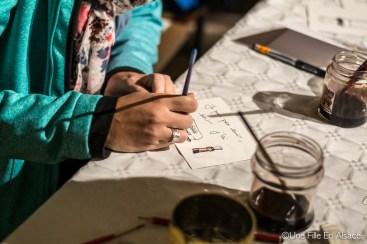Atelier peinture au vin rouge par Laurent Bessot Auto Rétro Vino Photo Céline Schnell - Une Fille En Alsace
