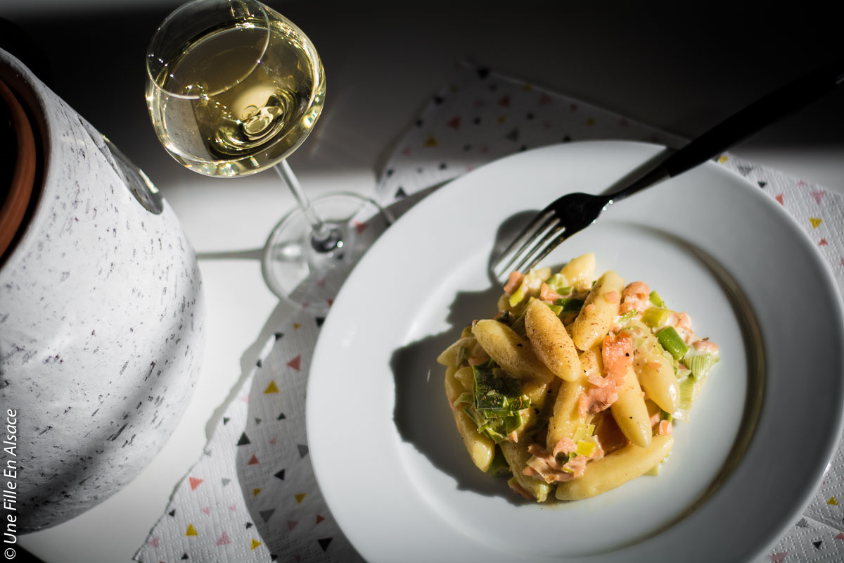 gnocchis à l'alsacienne poireau et saumon ©Celine Schnell Une Fille En Alsace