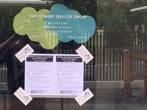 AUWU leaflet on window of Employment Services Group