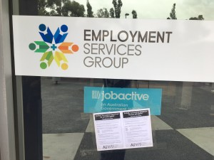 AUWU leaflet on door of Employment Services Group