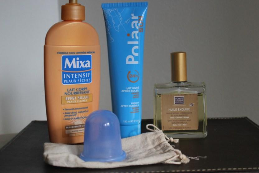 mixa gel bronzant, polar après-soleil, huile exquise, cellu blue