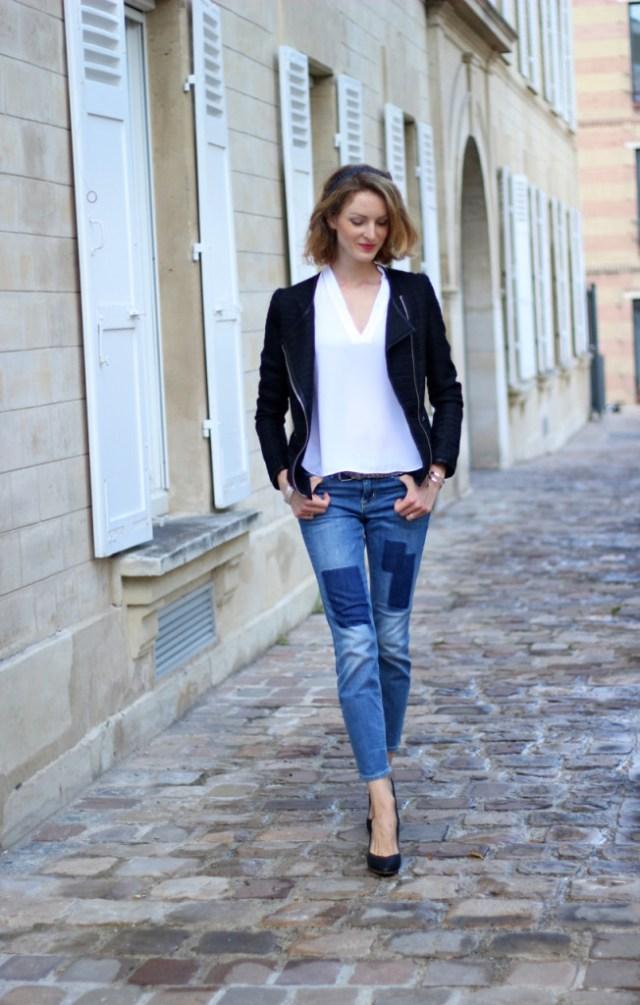 jean empiècements, blouse blanche, veste noire perfecto by julie