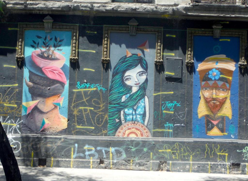 street art trois personnages santiago du chili