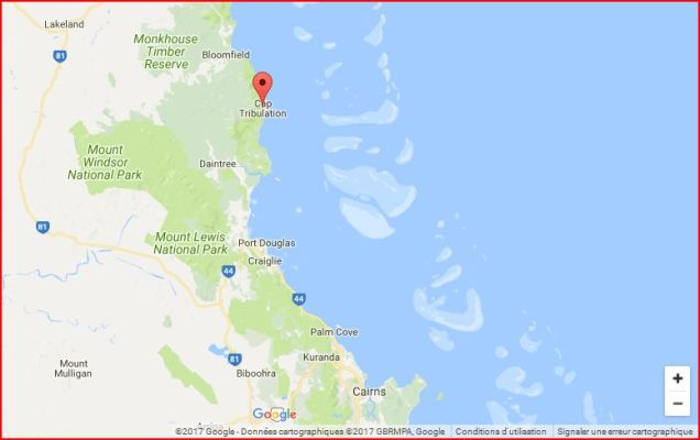 Google map: Cairns-Cape Tribulation , QLD