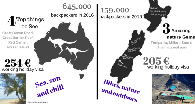 Infography Australia vs New Zealand on working holiday