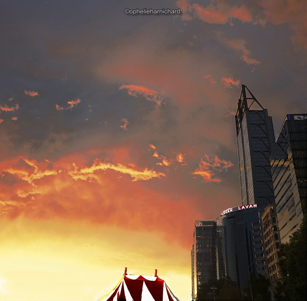 Artistic-photography-circus-and-skyscrapers-sunset-Perth-Australia