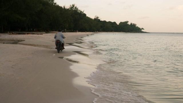 Koh Rong Cambodia - motorbike on the beach