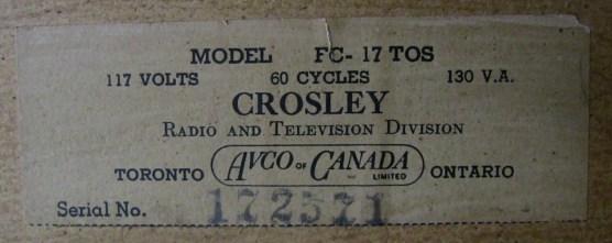 Crosley model # and info