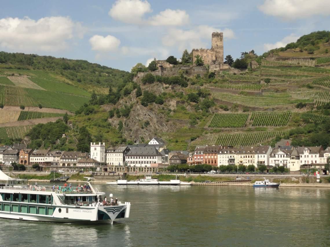 Cruiseboot vaart over de Rijn tussen langs wijnranken en burcht