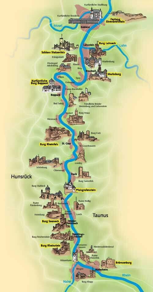 Overzichtskaart van Rijndal met alle burchten