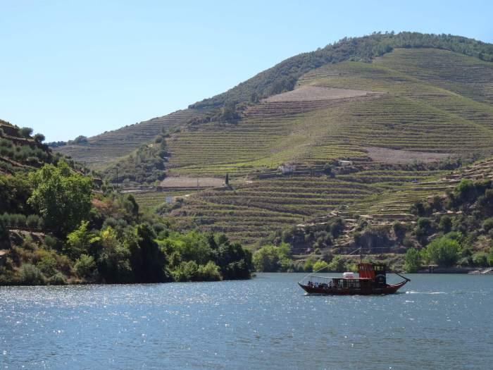 Rivier, bootje en wijngaarden in Alto Douro
