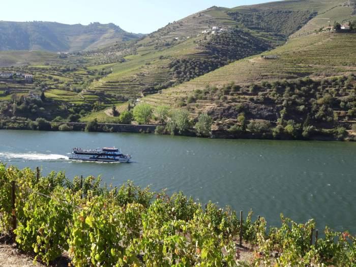 Toeristenboot vaart te midden van het heuvellandschap Alto Douro