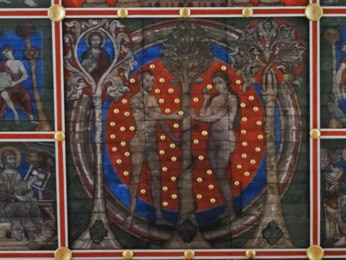 Adam en Eva geschilderd op het plafond van St. Michaëlkerk in Hildesheim