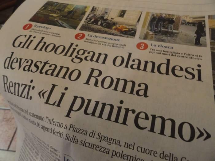 barbaren in Rome, krantenkoppen spreken schande over gedrag Feyenoordhooligans