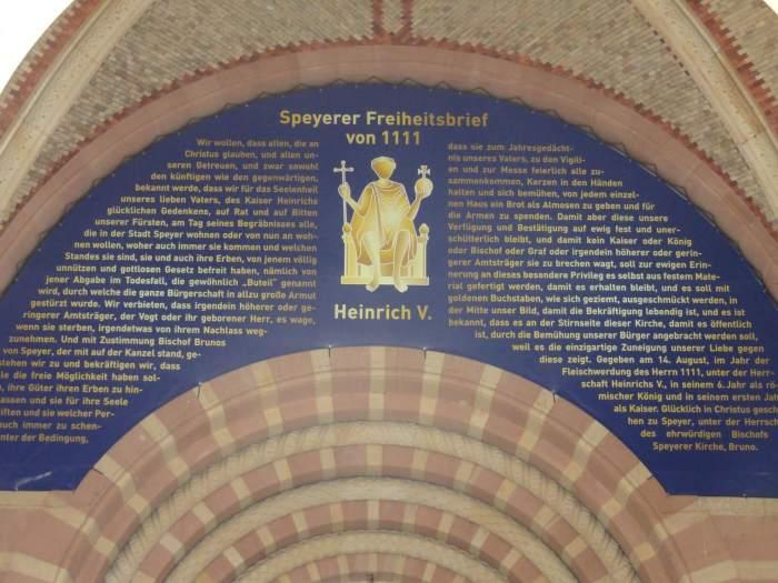 Freiheitsbrief Speyer op kathedraal