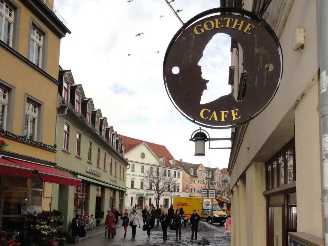 Goethe op een uithangbord