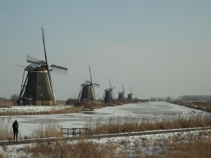 Vijf molens op een rij langs een bevroren vaart