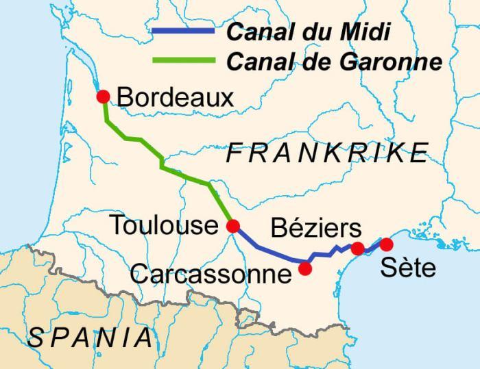 Kaart die locatie van Canal du Midi in Frankrijk aangeeft