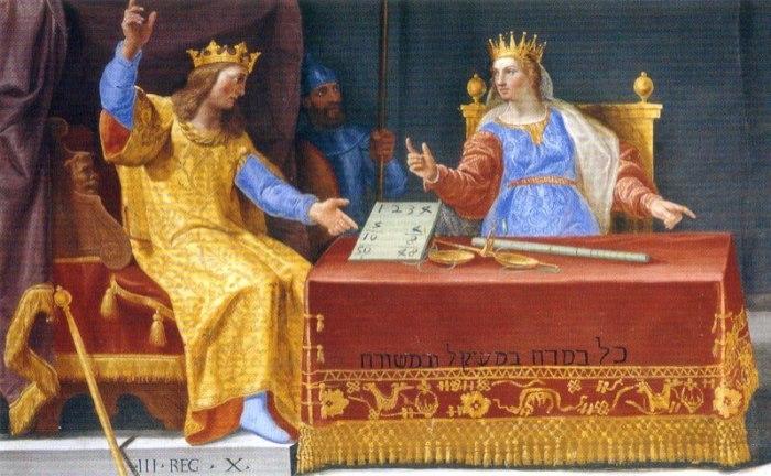 Kleurrijk fresco van koning Salomo en koningin van Sheba