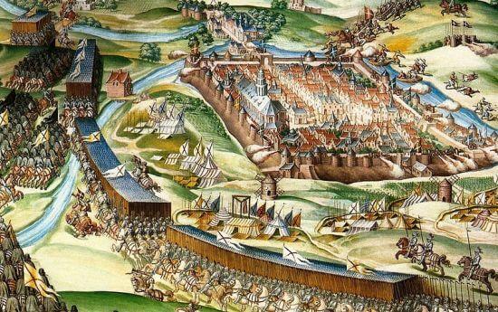 Middeleeuwse stad wordt belegerd door soldaten te paard