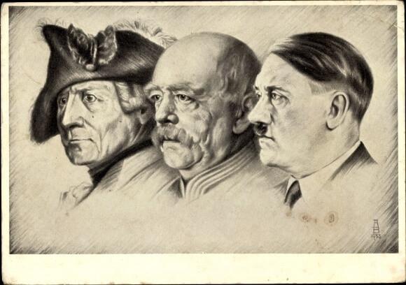 Zwart-wit tekening van Frederik de Grote, Bismarck en Hitler op een rijtje