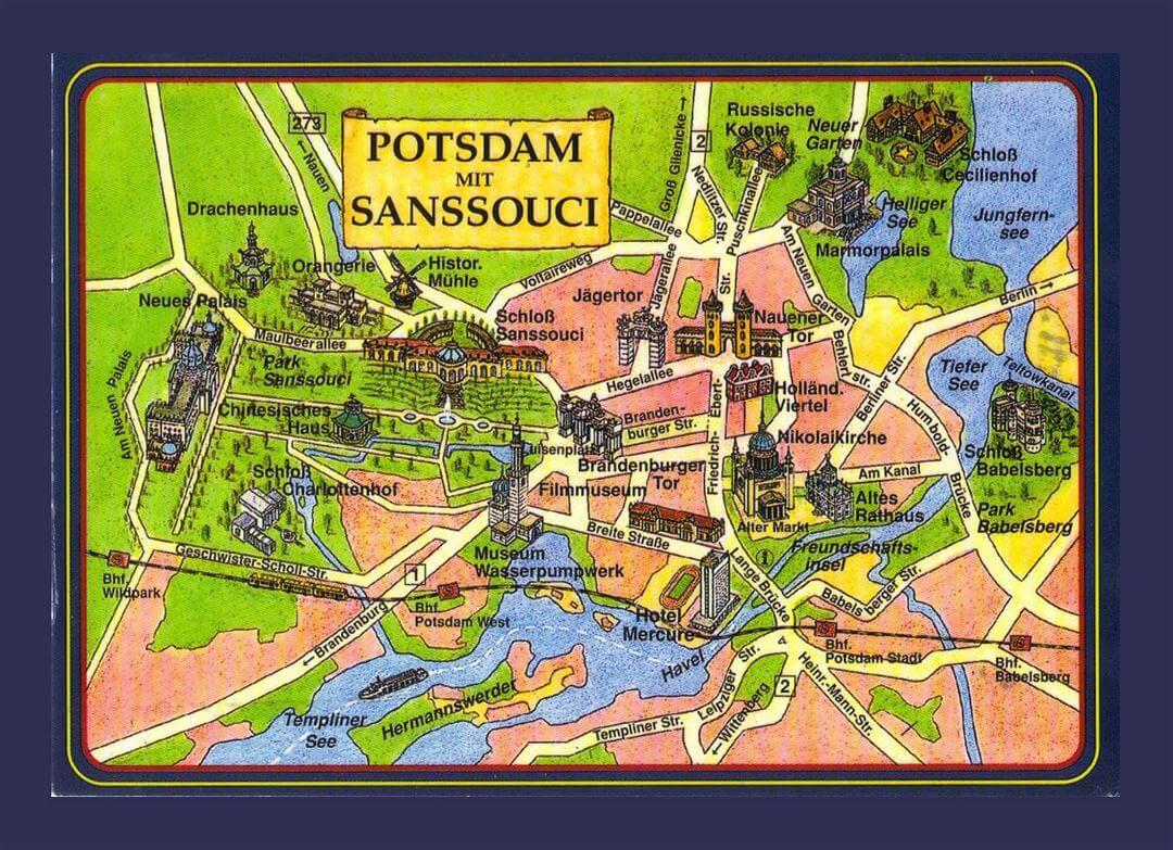 Kaart met daarop ingetekend de bezienswaardigheden van Potsdam en omgeving