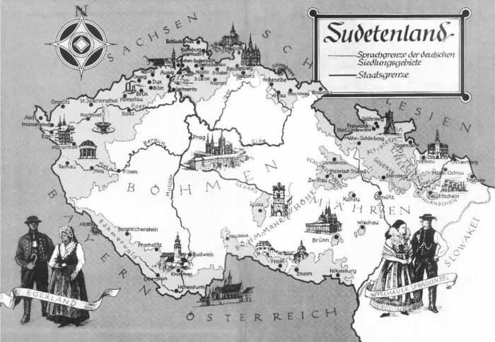 Kaart van Tsjechië waarop aan de randen het Sudetenland is ingetekend