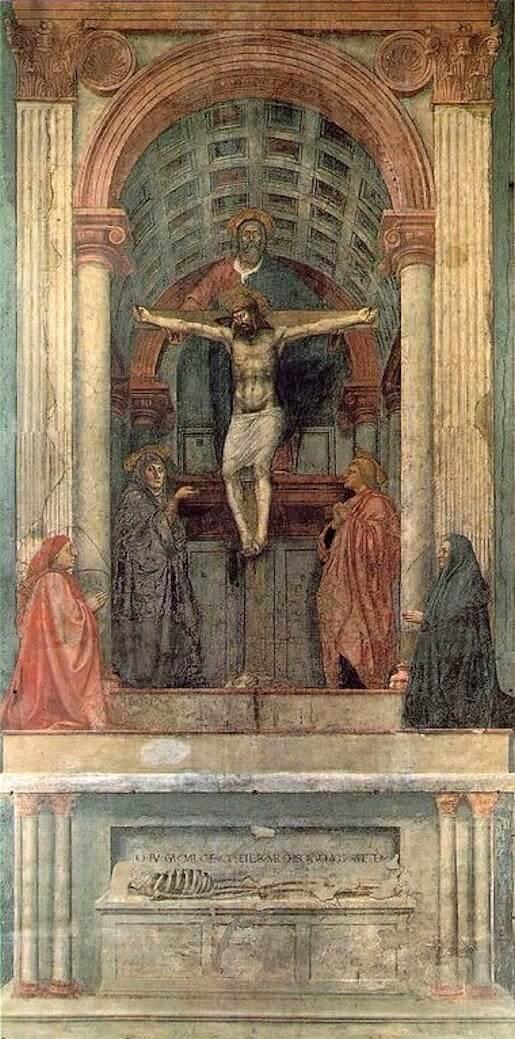 Een gekruisigde Jezus voor monumentaal pand met cassetteplafond. Op de voorgrond een doodskist met skelet