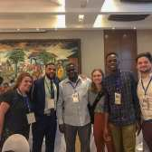 Some of the U.S. delegation to World Press Freedom Day stand with some of the Ghanian cohort of the International Youth Newsroom (Alec Cowan/Crossings Radio).