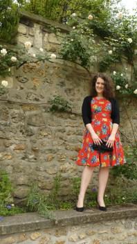 robe à fleurs vintage Mamz'elle Swing dress flowers escarpins Sarenza