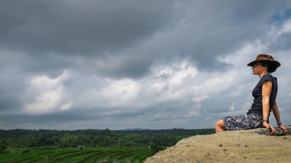 Point de vue à l'approche de l'orage, dans les rizières de Jatiluwih à Bali
