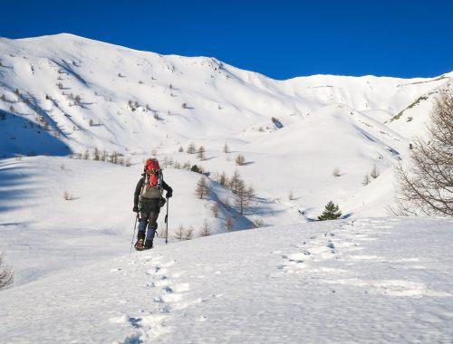 Homme avec sac à dos et raquettes dans paysage de montagne et neige