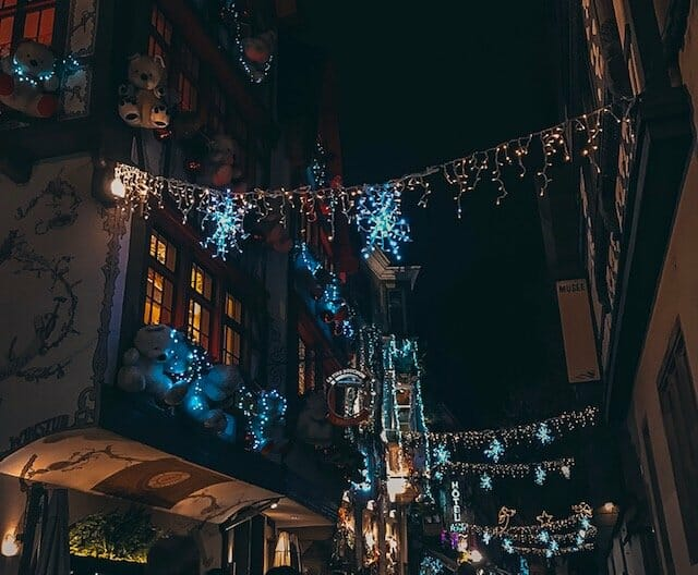 Christmas lights in the shape of snowflakes light up the night sky and the shophouses. This is one of the best christmas markets in alsace.