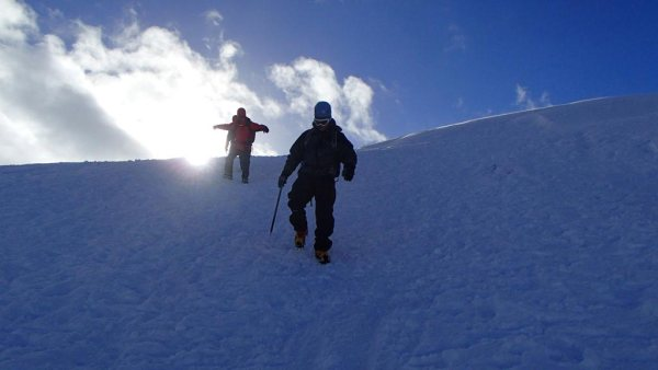 Descending with crampons