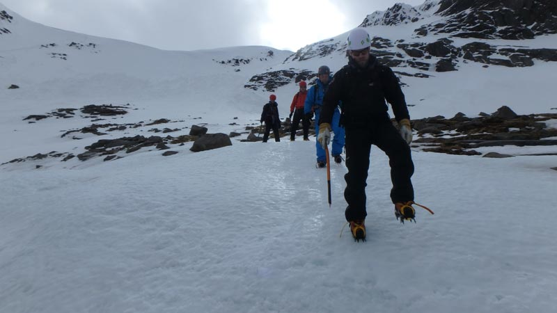 walking downhill with crampons