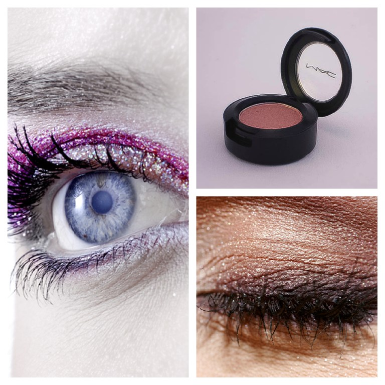 CREDIT: Photos of eye © Sugarfree.sk Mac 'Gleam' Eye shadow - Mine