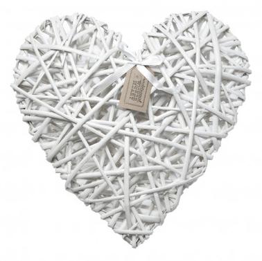 Large White Heart Of Wicker