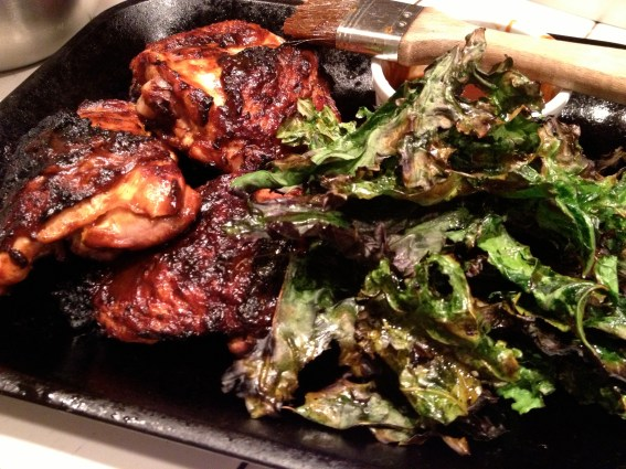 BBQ Chicken Thighs and Grilled Kale