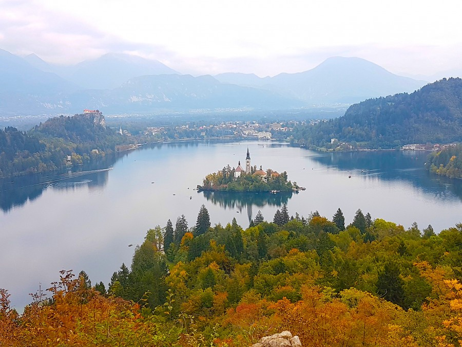 Ojstrica viewpoint of Lake Bled taken from the rocks