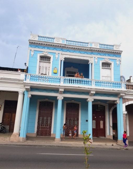 Blue building and balcony in Cienfuegos