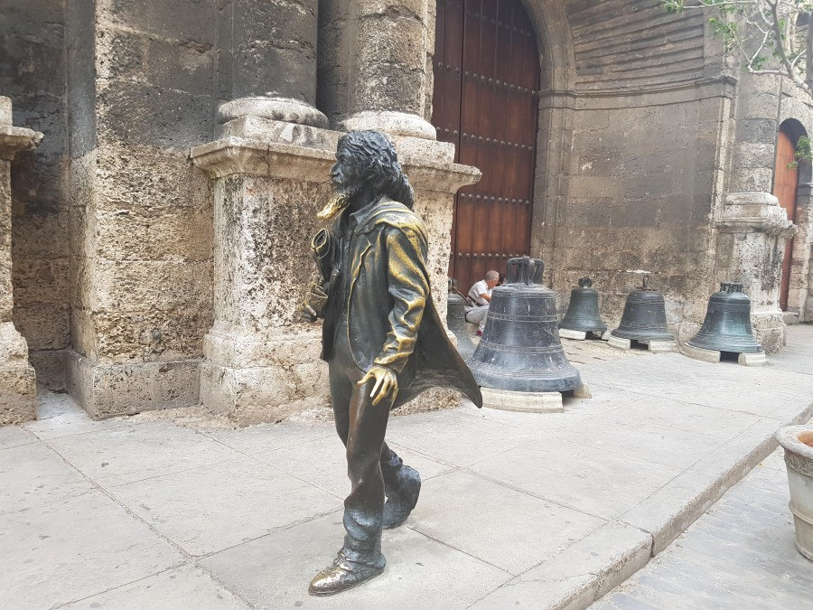 Monument of the street person on San Francisco de Asis Square