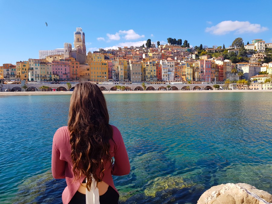 Beach and old town viewpoint in Menton