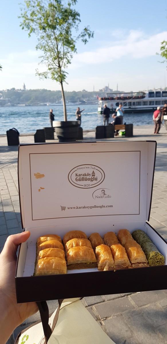 Karaköy Güllüoğlu baklava by the river in Istanbul